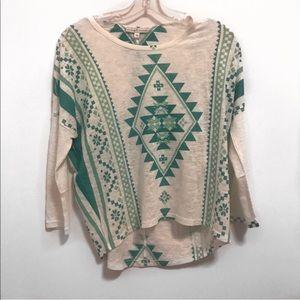 Moa Moa GreenAztec High-Low T-Shirt-XS NWOT